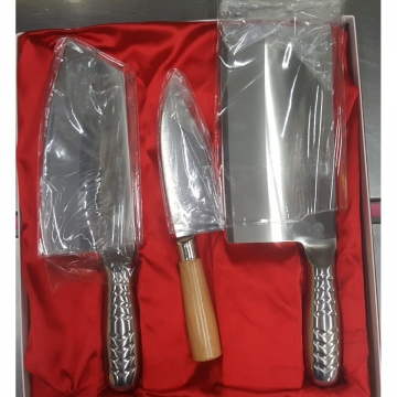Three steel knives with steel handle